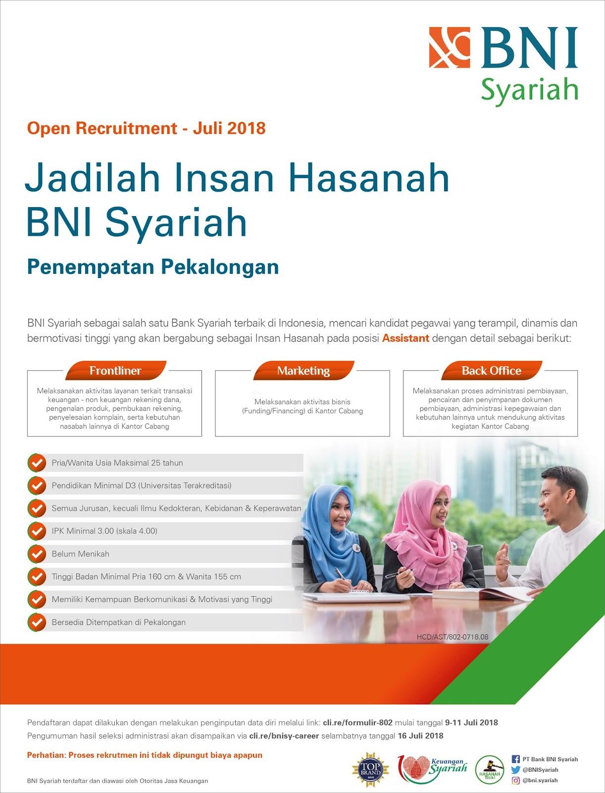 Lowongan Kerja Pegawai Bank BNI Syariah - REKRUTMEN ...