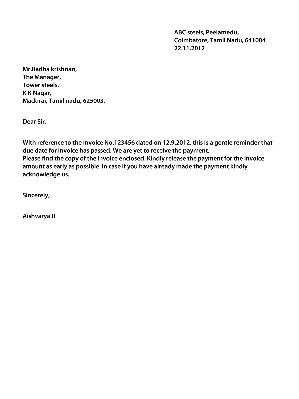 Dollar Price: Letter regarding outstanding payment