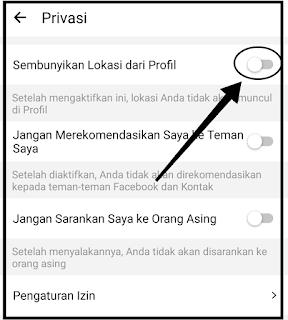Cara sembunyikan lokasi di profil Hago