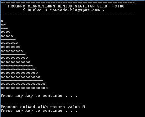 Kode Program Bahasa C Menampilkan Bentuk Segitiga Siku - Siku Penuh