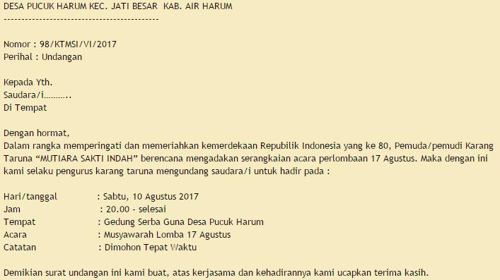 Contoh Surat Undangan Rapat Karang Taruna Desa Acara 17 Agustus
