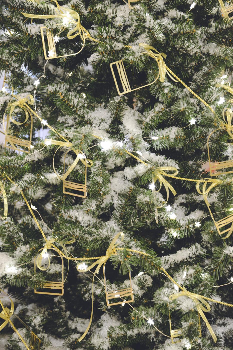 Christmas tree decorations closeup