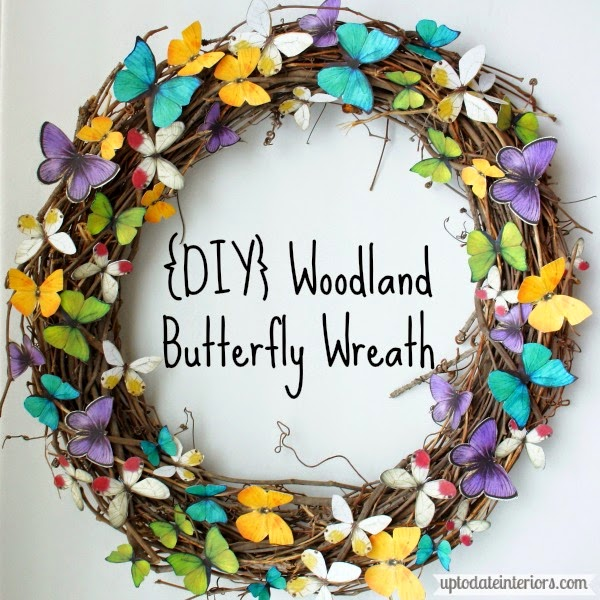 DIY woodland butterfly wreath in yellow blue and purple butterflies.