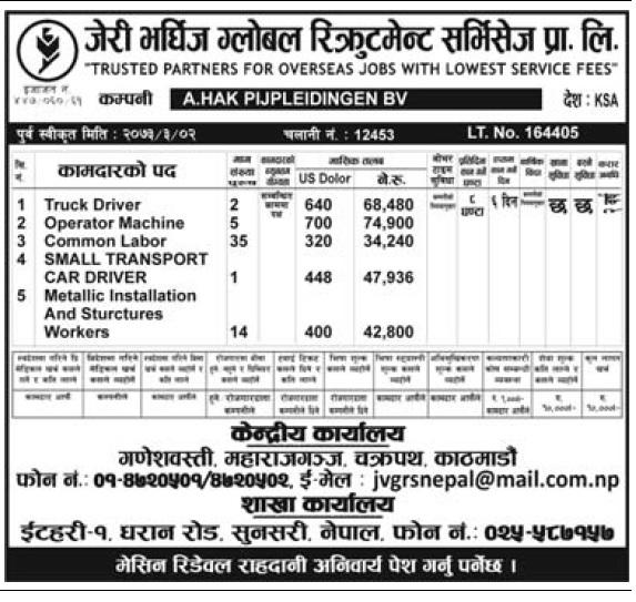 Jobs in Saudi Arabia for Nepali, Salary Rs 74,900