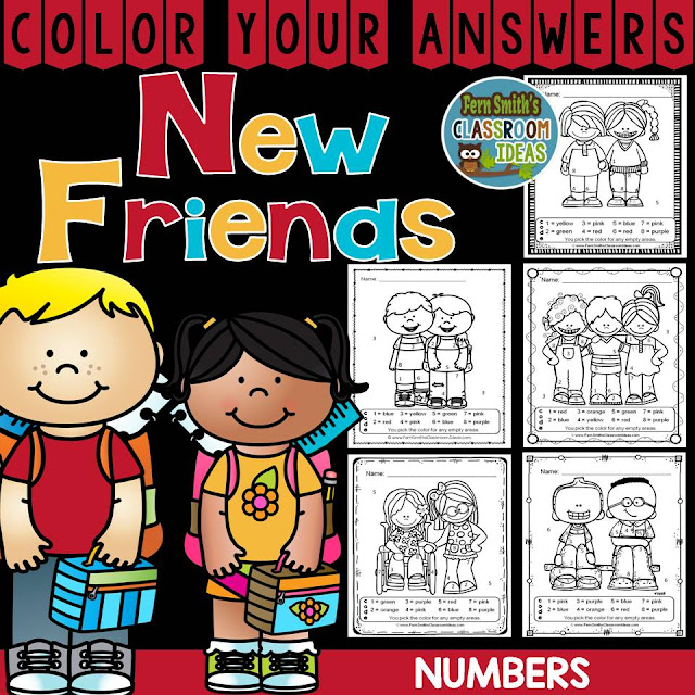Fern SMith's Classroom Ideas Make New Friends Color Your Answers Number!