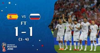 Spanyol vs Rusia 3-4 (Adu Penalti)