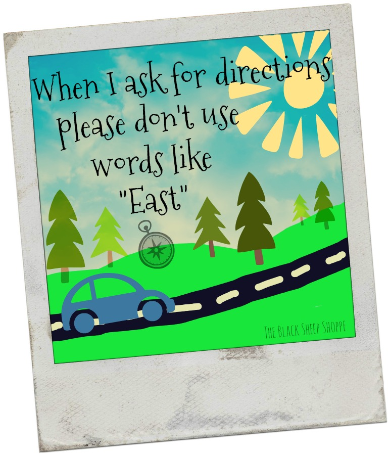 """When I ask for directions please don't use words like """"East""""."""