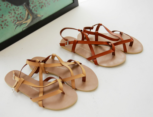 Strappy Leatherette Sandals