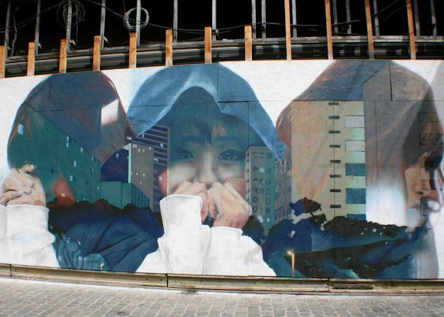 Street Art Bruxelles engagé groupe enfants