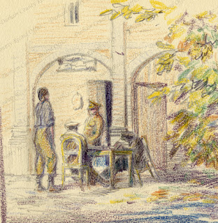 Colour pencil sketch, by Robert Mauchlen, of soldiers gathered around a table in a courtyard, n.d. [1915] (D/DLI 7/920/8(20))