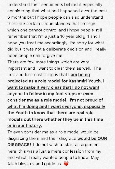 dangal star zaira wasim apology letter