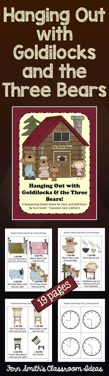 Fern Smith's Classroom Ideas Hanging Out with Goldilocks and the Three Bears Center Game at TeachersPayTeachers