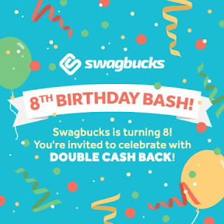happy birthday swagbucks, swagbucks, free swagbucks, cash back for shopping, double cash back, earn money from home, earn amazon gift cards, free swagbucks, WAHM, moms earn money from home