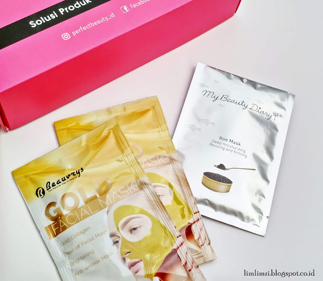 Perfect Beauty Box Beauvrys Gold Facial Mask dan My Beauty Diary Roe Mask