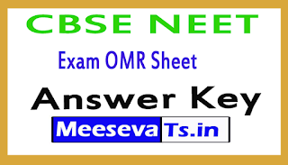 CBSE NEET Exam OMR Sheet Answer Key 2017