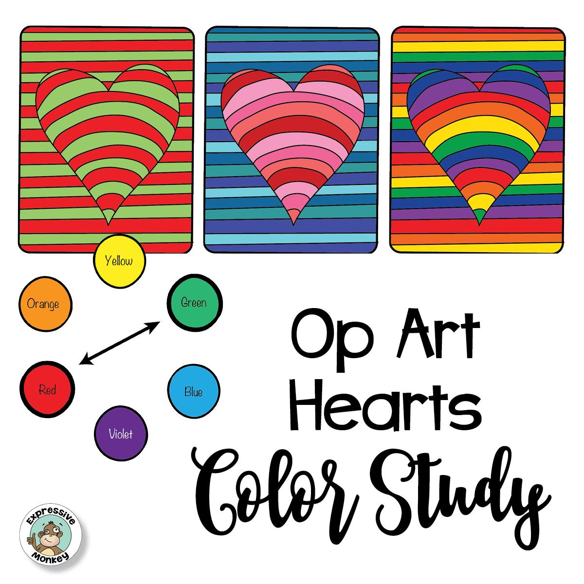 Op Art Hearts Color Study