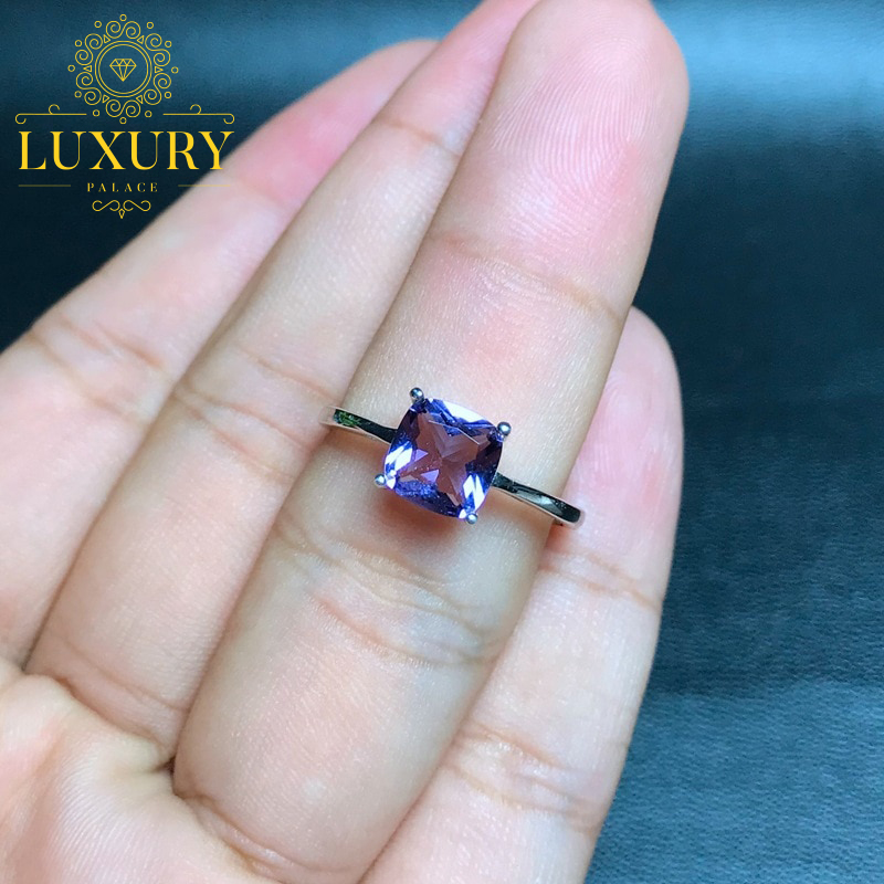 Natural Amethyst 5x7mm Gem Solid 925 Sterling Silver Beautiful Ring for Women
