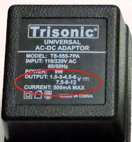 AC Adapter rating
