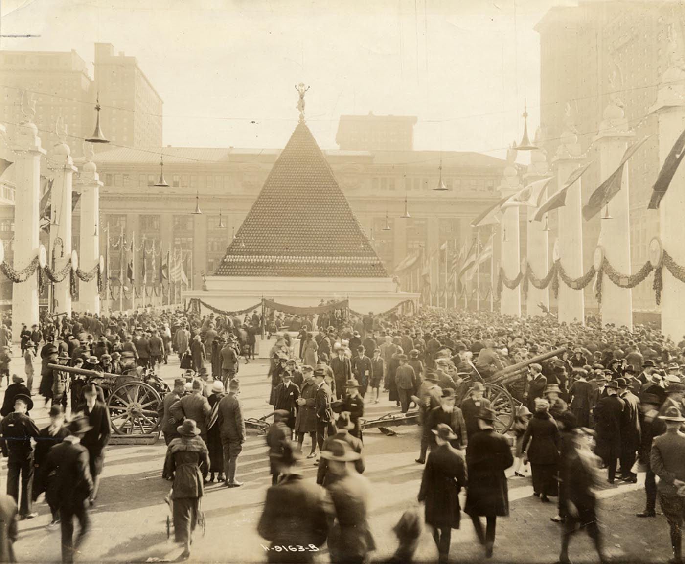 Pyramid of WWI German helmets at Grand Central, 1918.