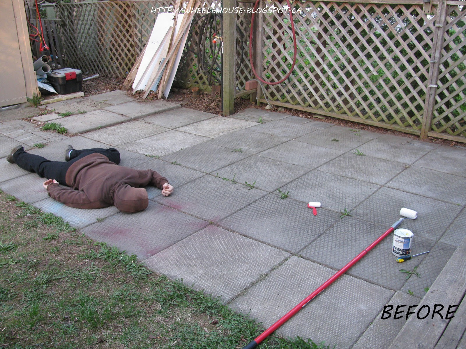 In My Wheele House: Ugly Cement Patio: Makeover & Dead Bodies