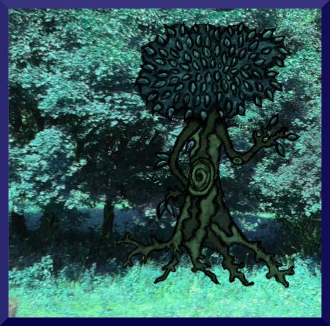 Illusztráció gyerekvershez, kék spektrumú digitális rajzon lombos, integető fa lép ki gyökerein járva az erdőből az autizmus világnapja alkalmából.