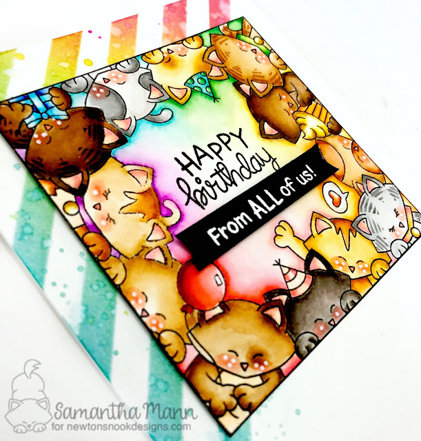 Happy Birthday from All of Us Card by Samantha Mann, Newton's Nook Designs, Birthday, cats, block party, #handmade cards, #inkblending #newtonsnook