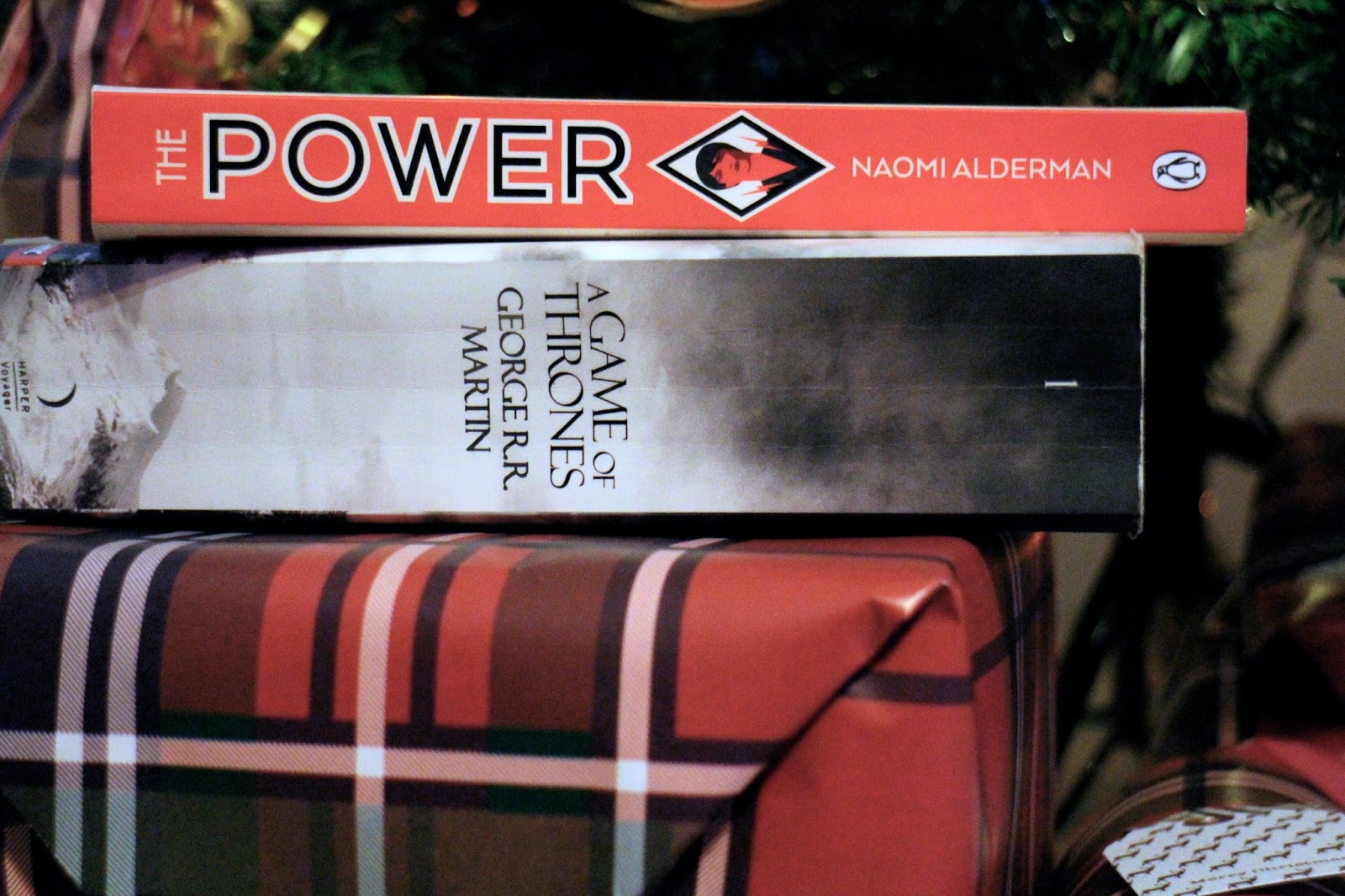 The Power and Game of Thrones books on a Christmas present