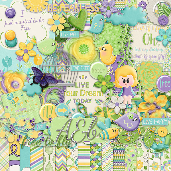 April Shower Digital Scrapbook Kit +Mini Kit Freebie +$2 Tuesday
