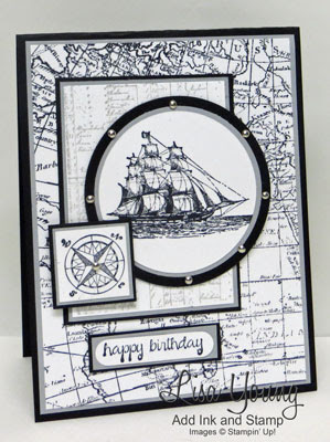 Stampin' Up! The Open Sea stamp set. Masculine card with ship and map. Handmade birthday card by Lisa Young, Add Ink and Stamp