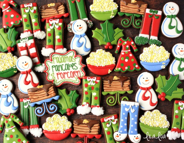 decorated sugar cookies for a pajama party - pancakes, popcorn, snowmen, holly cookies