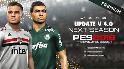 PES 2016 Next Season Patch 2019 Update 4.0 Season 2018/2019