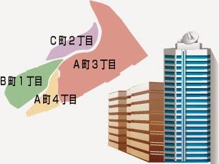 かもめタウンを配布する地区概略図とマンションイラスト