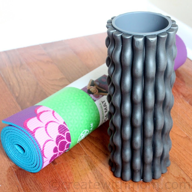 gaiam yoga mat and foam roller