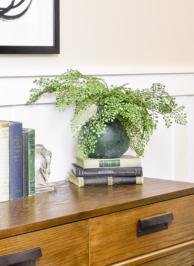 Add greenery when styling and entry or console table