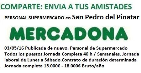 Lanzadera de Empleo Murcia. Oferta Mercadona, San Pedro del Pinatar