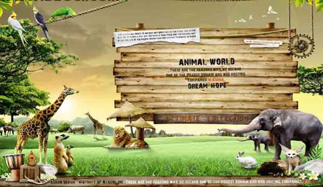 تحميل ملف PSD | عالم الحيوان قالب PSD تصميم المناظر الطبيعية الكرتون