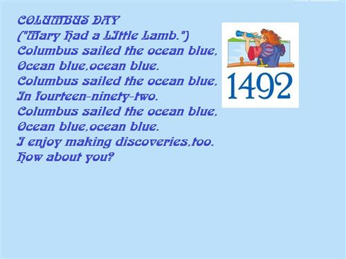 Free Columbus Day Poem Sailed The Ocean Blue