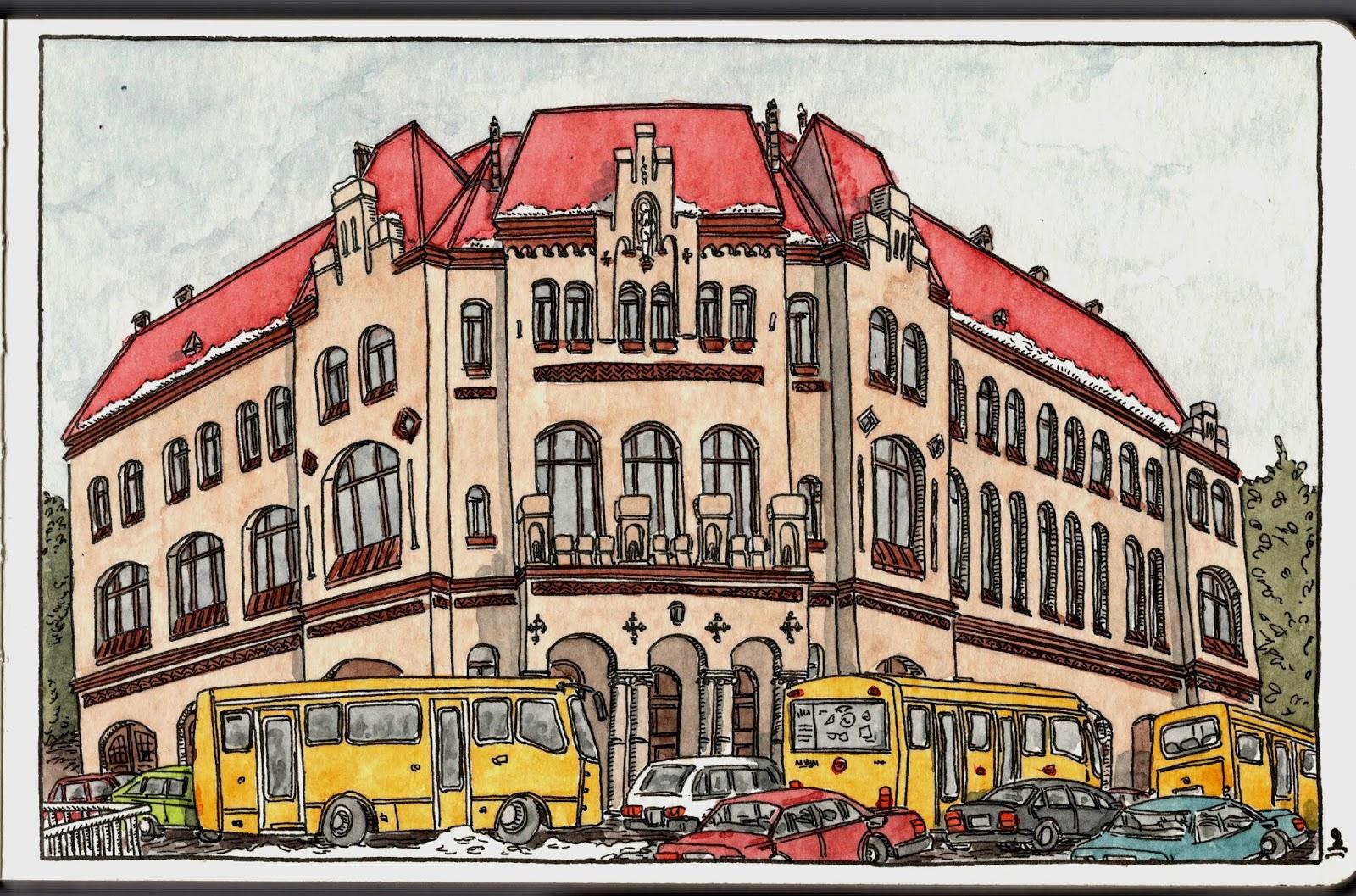 Yerinde çizer Lviv çizimleri Ix Itfaiye Binası Sketches From Lviv
