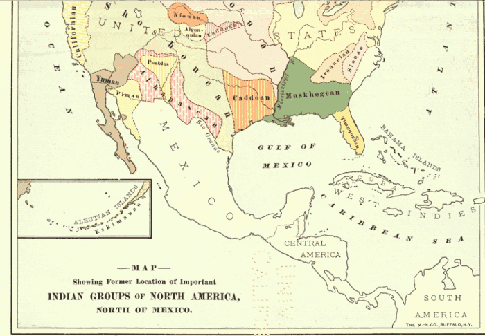 American Indians History And Photographs Maps Of The Location Of - Map of southern us and mexico