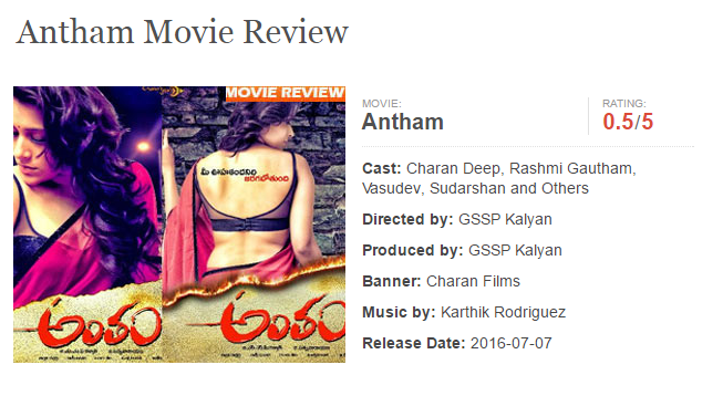 Antham (Reshmi) Movie Review