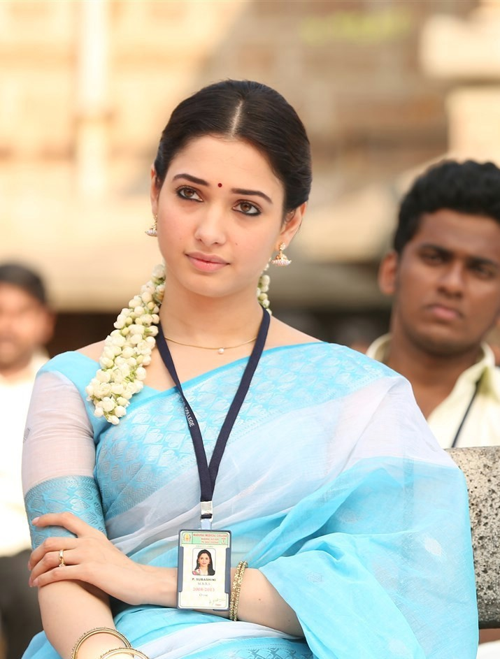 Actress Tamannaah Stills In Blue Saree From Tamil Movie