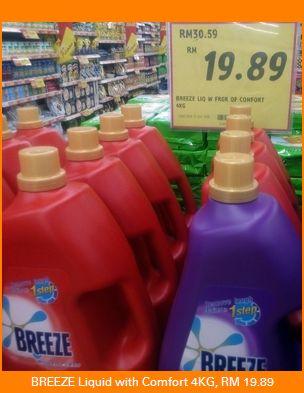 Breeze liquid with Comfort fragrancew 4 kilogram price was 19.89