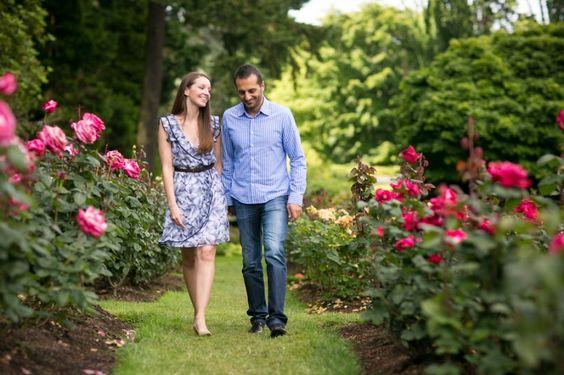 Romantic Couple Walking in Garden