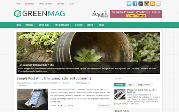 GreenMag Free Blogger Template
