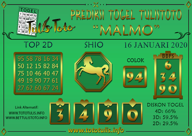 Prediksi Togel MALMO TULISTOTO 16 JANUARI 2020