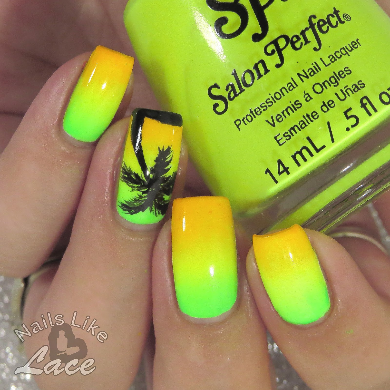 NailsLikeLace: Neon Gradient & Palm Tree Silhouette Nails