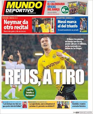 Portada Mundo Deportivo: Reus a tiro