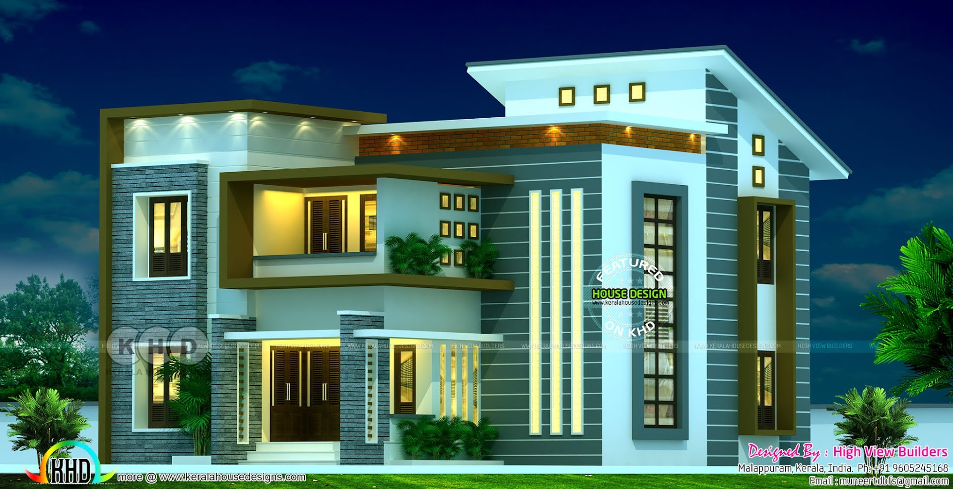 2340 Square Feet 4 Bedroom Slanting Roof Mix Modern Home