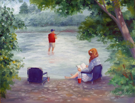 Fishing and relaxing by the river
