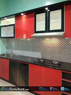 Kitchen set merah hitam
